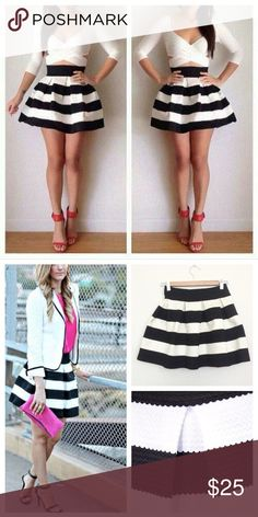 """Boutique black and white stripe bandage mini skirt sz m (fits more like a s/xs IMO)  boutique black and white flared bandage skirt.  I purchased this from another posher but unfortunately it's just a little too short for my comfort (I'm 5'10"""". Would look amazing on you shorter gals! ) Skirts Mini"""