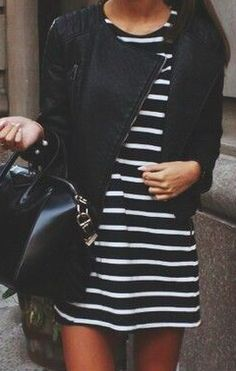 Street style | Striped mini dress, black jacket, handbag
