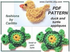 crochet applique PATTERN NO. 60. turtle applique, duck applique both in the same pattern. $4.99, via Etsy.
