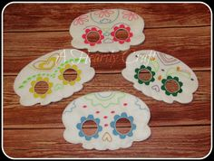 Set of 4 Sugar Skull Masks - Day of the Dead Mask - Halloween Mask - Halloween…
