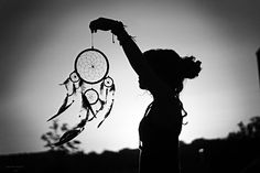 """the silhouette of girl holding a dream catcher would be a SICK tattoo. with the words """"If dreams there be..."""" incorporated somewhere."""