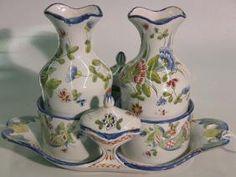 1085: ITALIAN FAIENCE CONDIMENT SET| Comprising two sto Condiment Sets, Butter Dish, Auction, Vintage, Vintage Comics