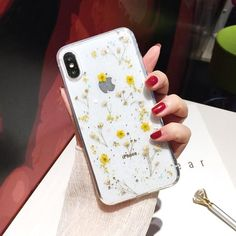 iPhone 8 Plus Flower Case, Shinymore Soft Clear Flexible Rubber Pressed Dry Real Flowers Case Girls Glitter Floral Cover for iPhone 7 Plus-Yellow