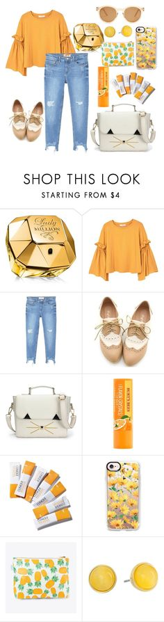 """""""Untitled #349"""" by dolrebeca ❤ liked on Polyvore featuring Paco Rabanne, MANGO, Miss Dora, Clinique, Casetify, Rosa & Clara Designs, Kate Spade and Le Specs"""