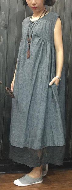Elegant gray linen shift dress Loose fitting sleeveless striped linen cotton dress