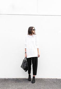 modern legacy: Acne Knit + Malene Birger Pants #blackandwhite