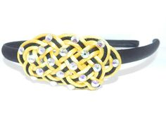yellow and black Celtic Knot headband by RinceCouture on Etsy