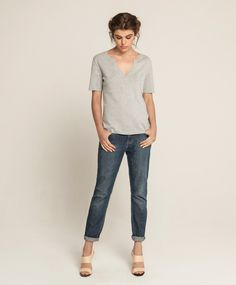 Cashmere Bamboo Front Split Top - Soft Grey, Girlfriend Jean - Soft Vintage Wash