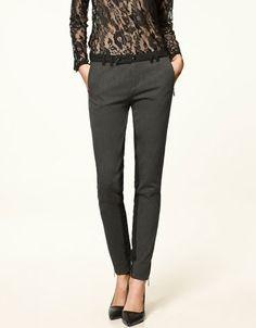 Pantalon en Tissu combiné
