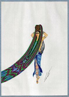 AMAZONE femme Original Limited Edition ERTE Vintage Art déco / Nouveau Print 1980