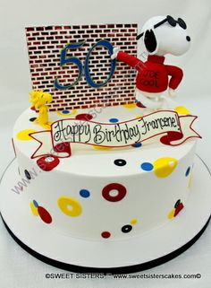 Cool Snoopy celebrates helps celebrate a 50th birthday! #desserts #cakes #birthdaycake #happybirthday #Snoopy #CharlieBrown #Peanuts #50thbirthday #SweetSisters