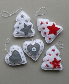 Christmas tree decorations -   size 10 x 8.5 cm size hearts 8.5 x 8.3 cm, made of felt, filled with hollow fiber
