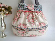Small  Floral cotton Handbag  - external zip pocket  £24.50