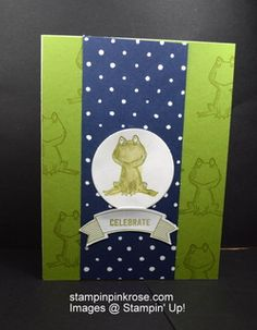 Stampin' Up! Birthday card made with Love You Lots stamp set and designed by Demo Pamela Sadler. This uses an adorable frog from a retired set. See more cards at stampinkrose.com #stampinkpinkrose #etsycardstrulyheart