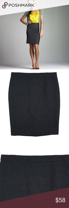 """JCREW Charcoal No.2 Pencil Skirt Double-Serge Wool Size -  6  This charcoal gray No 2 Pencil Skirt in Double Serge Wool from JCREW is in absolutely excellent condition. It features a zip up closure, back center slit and is fully lined. 100% Wool.  Measures: Waist: 31"""" Hips: 39"""" Total Length: 23.5"""" J. Crew Skirts Pencil"""
