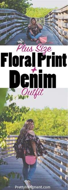 Spring Fashion: Floral Print and Denim plus size outfit   plus size fashion, plus size styling tips, curvy fashion, cold shoulder