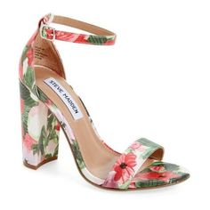 Women's Steve Madden Carrson Sandal ($90) ❤ liked on Polyvore featuring shoes, sandals, floral multi fabric, ankle tie sandals, chunky heel sandals, ankle strap sandals, steve madden sandals and thick heel sandals
