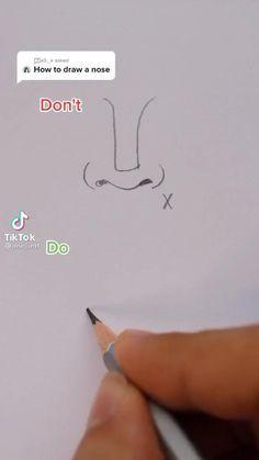 Art Drawings Beautiful, Art Drawings Sketches Simple, Pencil Art Drawings, Realistic Drawings, Easy Drawings, Nose Drawing, Diy Canvas Art, Art Tutorials, How To Draw People