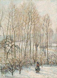 Boston Museum of Fine Arts -Camille Pissarro - Morning Sunlight on the Snow, Eragny-sur-Epte, 1895 Paul Gauguin, Claude Monet, George Seurat, Camille Pissarro Paintings, Pissaro Paintings, The Snow, Kunsthistorisches Museum, Boston Museums, Gustave Courbet