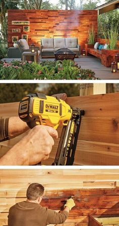 Made from hardy cedar, this DIY privacy wall will stand the test of time. The patio privacy wall features an eye-catching effect with extra wood added for texture. Backyard Projects, Outdoor Projects, Backyard Patio, Backyard Landscaping, Patio Wall, Diy Patio, Outdoor Rooms, Outdoor Gardens, Outdoor Living