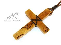 Drift Wood Cross Pendant Wood Cross by NikibarsNatureArt on Etsy