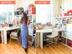Decluttering doesn't have to be a big hassle! Jumpstart your organized creative space with these hacks. #partner