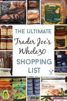 Everything you need from Trader Joe's to complete the Whole30 challenge! The ultimate shopping guide for fresh and packaged food Trader Joe's Shopping List, Vegetarian Shopping List, Whole30 Shopping List, Whole 30 Vegetarian, Healthy Shopping, Whole 30 Drinks, Whole 30 Menu, Whole 30 Meal Plan, Whole 30 Lunch