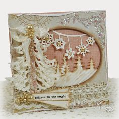 Kathy Montgomery: In My Little Korner: LLLC - Halloween and Christmas/Winter Release Fun!... - 9/10/14  (La La Land Crafts dies: Christmas Tree Hill, Snowflake Banner, Fancy Christmas Tree, Stitched Elements)