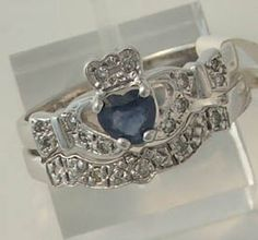 Sapphire Claddagh Engagement/Wedding Rings