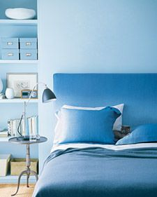 Ombre Slipcover and Pillowcases The headboard slipcover and the matching pillowcases are shrouded in sky-blue linen that's dyed a deeper, sea-inspired tone, embodying the spare beauty of a monochromatic palette. Slipcover & Pillowcase How-To Blue Rooms, Blue Bedroom, Bedroom Decor, Bedroom Furniture, Furniture Ideas, Bedroom Ideas, Blue Walls, Martha Stewart Home, Mako Satin