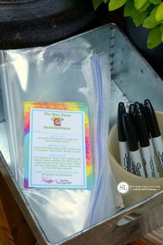 Printable Tie Dye Party Bag Instructions: wet tie dye needs to sit for up to 24 hours, plastic bags provide a safe and easy way for guests to transport their wet tie dye projects.