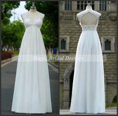 Simple A-line Chiffon Wedding Dresses Queen Ann Neckline Cap Sleeves Modest Bridal Gowns Empire Waist Pregnant Women Wedding Long Dresses