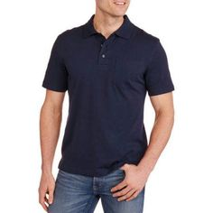 George Men's Solid Jersey Polo, Size: Large, Blue