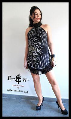 Black & White polka dot Halter Tunic dress w/ by MixeDesigns