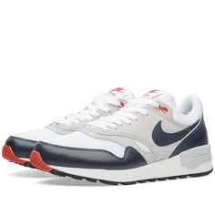 After a recent comeback, the classic Nike Air Odyssey runner from 1987 features in its latest colourway - White and Dark Obsidian. Designed for comfort, the mesh uppers with suede overlays sit upon a PU midsole with Air-Sole Unit for lightweight cushioning, finished with a rubber outsole for enhanced durability and traction.  Mesh Uppers Suede Overlays PU Midsole Air-Sole Unit Rubber Outsole Style Code: 652989-104
