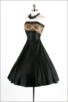 50s black, strapless party dress...LOVE LOVE LOVE, would be a beautiful evening wedding guest dress!