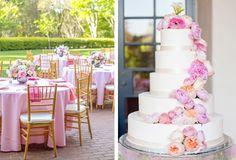 Pink wedding colors, pink wedding flowers, pink and white wedding cake - Tiffany Acord & Adam Geib - D Weddings