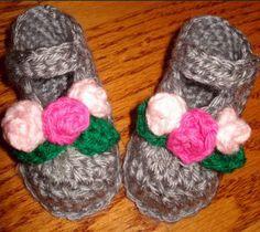 Flowers for Baby Booties   AllFreeCrochet.com