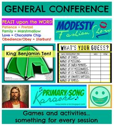 Lady Create-a-lot: General Conference Games & Activity IDEAS- Something for every session!