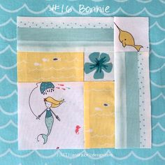 Farmer's Wife 1930's Quilt: Block 16 Bonnie. Beach and under the sea theme in yellows and teal with mermaids and fish.
