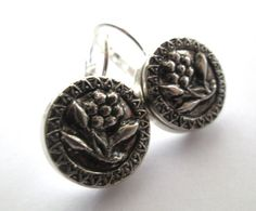 Vintage button earrings, silver floral buttons with silver leverbacks