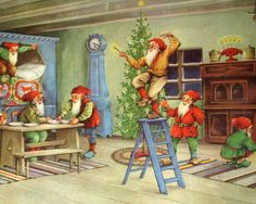 1940's Original Vintage Erik Forsman Christmas Elves Swedish Poster
