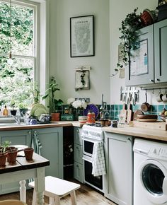 "Think of simple ways to maximize storage, practicality and personality. Magnetic wall strips for knives, rails for hanging pots, and wire baskets and racks are great, low-fuss storage solutions. Plants and pictures add colour and character. ""Rearranging pots on the windowsill and putting up menus of favorite restaurants on the wall makes me feel happy,"" says Melia."