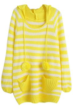 ROMWE | Striped Hooded Fluffy Ball Yellow Jumper, The Latest Street Fashion