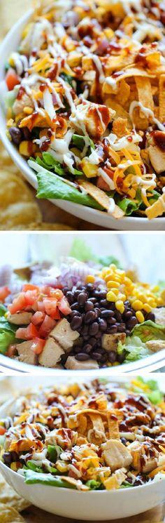BBQ Chicken Salad - 18 Super-Healthy Chicken Salads   GleamItUp