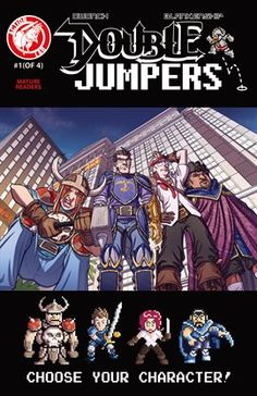 Double Jumpers by Dave Dwonch illustrated by Bill Blankenship  After Jason and his team of programmers get stuck in their virtual reality game, Dungeon Lords, they must find a way back to the real world. Unbeknownst to them, the fantasy characters they inhabit have taken control of their bodies… and now wizards and warriors run free in Las Vegas!