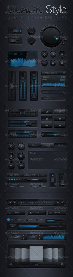Black Style User Interface Elements