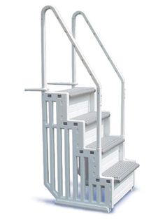 Find Staircase above ground pool steps for outstanding value. Made from resin polymers and featuring extra wide treads as well as dual handrails.