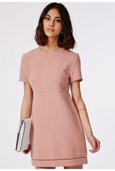 Cut-out Hem Babydoll A-Line Shift Dress Pale Pink
