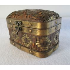 Brass and Bamboo Box, Vintage Small Chest Miniature Trunk, Woven... ($15) ❤ liked on Polyvore featuring home, home decor and small item storage